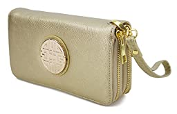 Canal Collection Double Zipper Around PVC Leather Wristlet Clutch Organizer Wallet with Emblem (Gold)