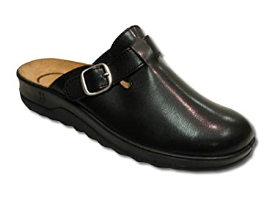 Romika Village Black Leather Adjustable Clog