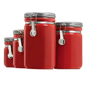 Anchor hocking 03923red ceramic canister 4pc for Kitchen set in amazon