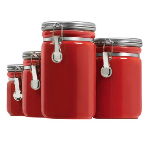 4 Piece Red Canister Sets For Kitchen Storage Red