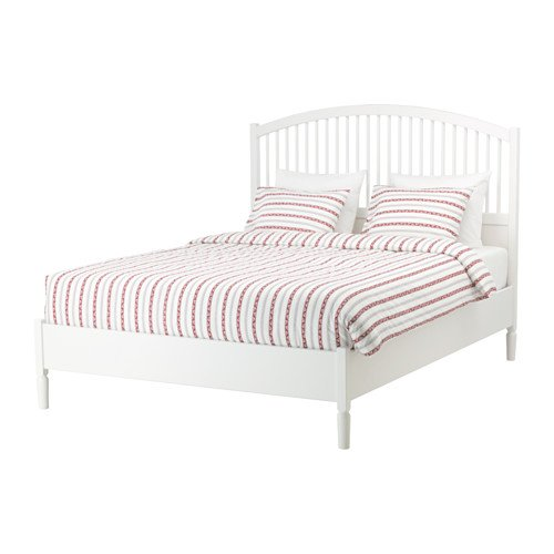 Ikea Bed frame, white, Queen size Luroy 26382.172329.182
