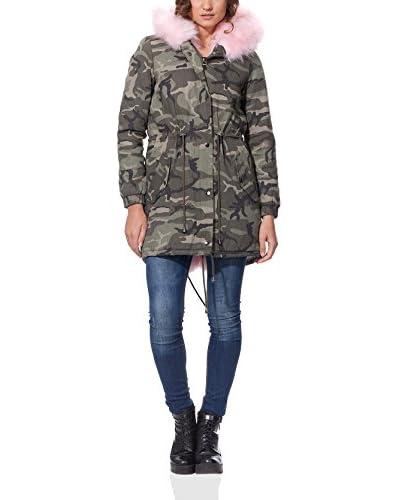 OSLEY PARIS Mantel Camouflage Parka With Faux Fur khaki