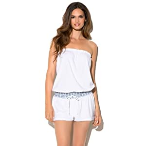 Lucky Brand Women's Wild Streak Romper Swim Cover Up White M/L