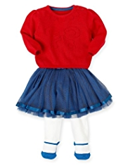 3 Piece Autograph Pointelle Jumper, Tutu Skirt & Tights Outfit