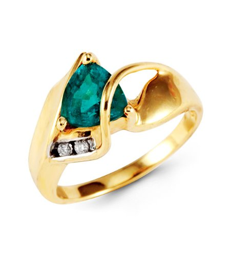 Women's 10k Yellow Gold Emerald Round Diamond Ring