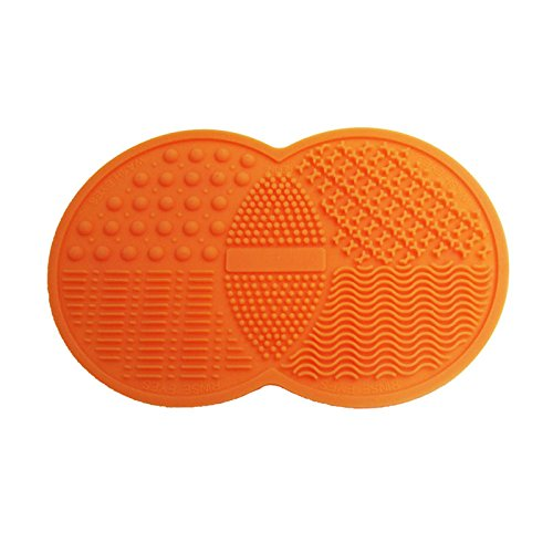 SaiDeng Silicone Double Round Suction Cup Type Make-Up Brush Cleaning Mat (Orange)