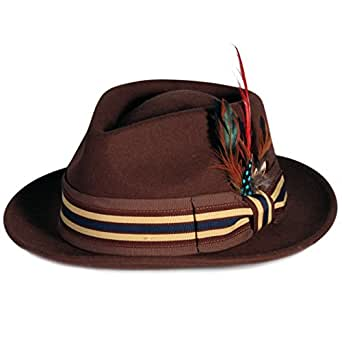 City Hunter Pmw89 Pamoa Wool Fedora with Feather Trim-Brown at Amazon