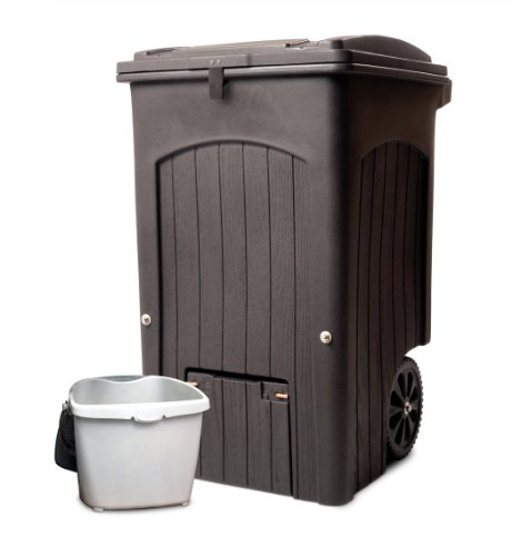 Toter 035564-R1CGR Wheeled Composter Kit with Attached Lid, 64-Gallon, Brown Granite