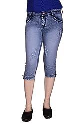 Queens Women's Slim Fit Capri(cap_tone__sbllue_Blue_28)