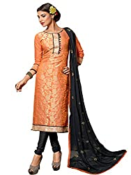 Dashing Orange Coloured Embroidered Dress Material