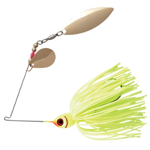 Booyah Double Willow Counter Strike Spinner bait Fishing Lure, Chartreuse, 1/2 ounce