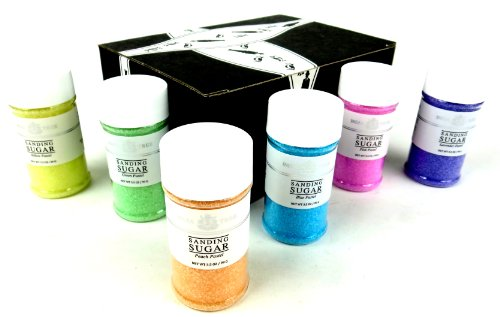 India Tree Pastel Sanding Sugars 6-Color Set: One 3.5 Oz Bottle Each Of Lavender, Peach, Blue, Pink, Green, And Yellow Pastel Sanding Sugars In A Gift Box front-1047534