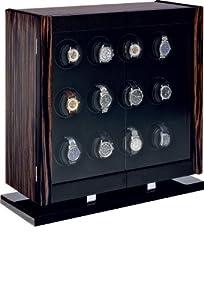 Avanti 12 Programmable Watchwinder in Italian-made Macassar Veneer and Carbon Fiber Cabinet by Orbita