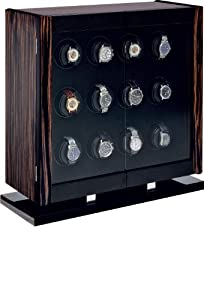 Avanti 12 Programmable Watchwinder in Italian-made Macassar Veneer and Carbon Fiber Cabinet by Orbita