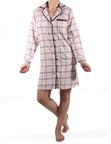 Mio Lounge Club Cozy Flanell Nachthemd in Braun und Pink crw1201TP Medium