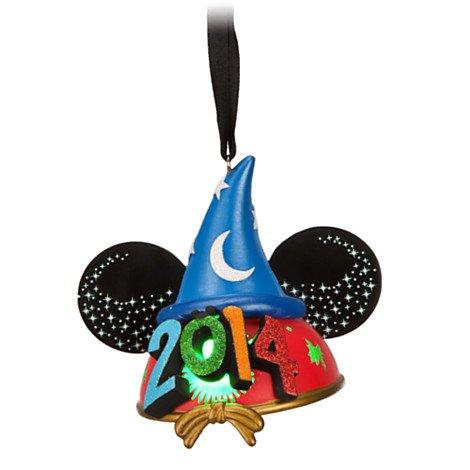 Walt Disney World 2014 Sorcerer Mickey Mouse Light Up Ear Ornament Christmas