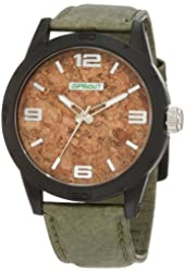Sprout Men's ST/3401BKBKOL Cork Dial Olive Green Tyvek Strap  Watch