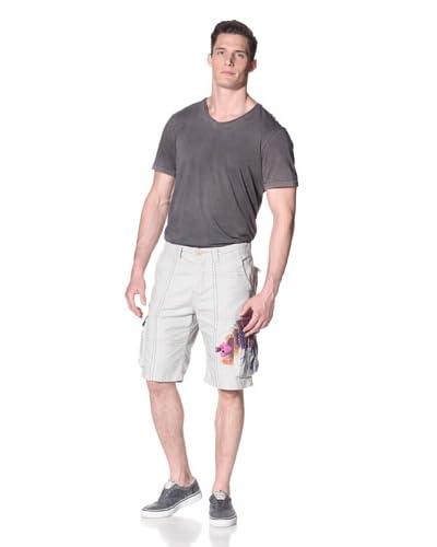 Desigual Men's Herringbone Shorts with Stitching