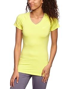 NIKE Damen kurzärmliges Funktionsshirt Pro V Neck II, electric yellow/anthracite, XL, 458663