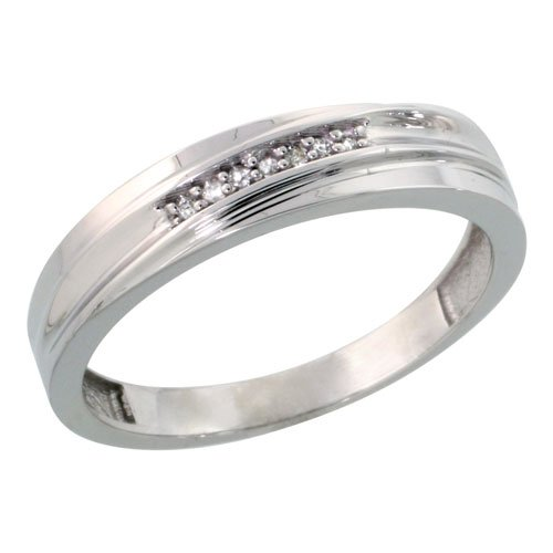 Sterling Silver Mens Diamond Wedding Band Ring 0.04 cttw Brilliant Cut, 3/16 inch 5mm wide, Size 8.5
