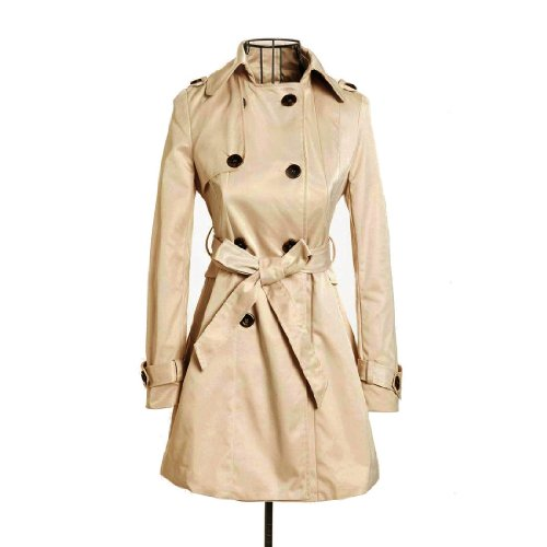 Womens Spring/Autumn Double Breasted Belted Coat Slim Rain Trench Coat Casual Jacket Outwear (S)