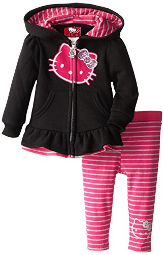 Hello Kitty Baby-Girls Infant Active Set Fleece, Anthracite, 12 Months front-643034