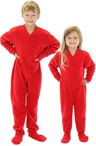 SleepytimePjs Infant & Kids Red Fleece Onesie PJs Footed Pajama