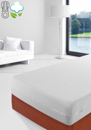 Savel, Coprimaterasso in spugna elasticizzata 100% cotone. Colore: Bianco - Matrimoniale (160x200cm)
