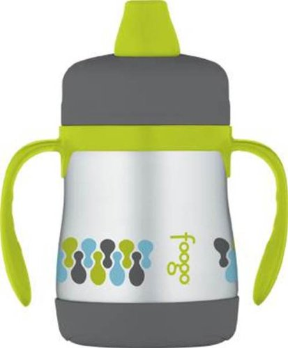 THERMOS FOOGO Vacuum Insulated Stainless Steel 7-Ounce Soft Spout Sippy Cup with Handles, Tripoli Pattern - 1