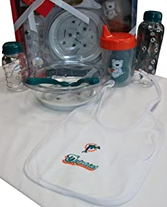 Miami Dolphins NFL Newborn Infant Baby 7 Piece Feeding Gift Set w  Bottle & Bib by NFL