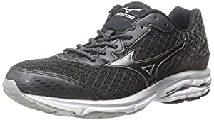 Mizuno Women's Wave Rider 19 Running Shoe, Black/White, 9.5 B US