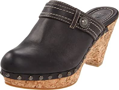 FRYE Women's Audra Button Clog, Black, 5.5 M US