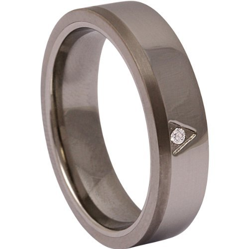 Jewellery Excellent Women's Titan encounters Edelstahl ! Wedding Ring , Ehering, engagement Ring mit Stein-62 (19,7) - Titanium and stainless steel 10 (Edelstahl Ring compare prices)