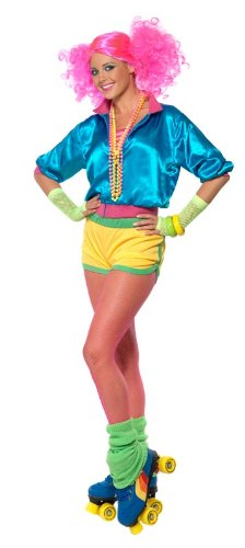 Smiffy's Skater Girl Costume - Neon 80s Roller Disco Look - Small or Medium Sizes