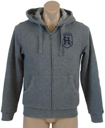 Tommy Hilfiger Mens Fur Lined Full Zip Hooded Sweatshirt - XS - Gray