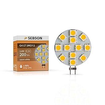 SEBSON G4 LED 3W Lampe - vgl. 20W Glühlampe - 200 Lumen - G4 LED warmweiß - LED Leuchtmittel 110° - 12V