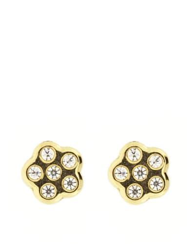 Gold & Diamond Pendientes Flor Circonita