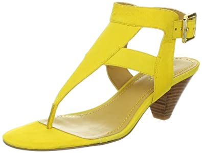 Nine West Women's Crashcourse Sandal,Yellow Nubuck,7.5 M US