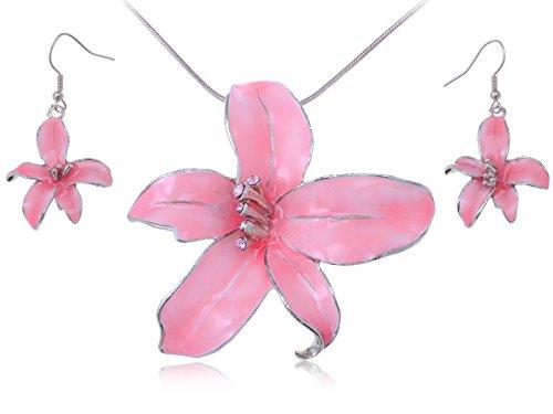 rose-silber-emaille-pink-hawaiian-tropic-island-halskette-mit-ohrringen