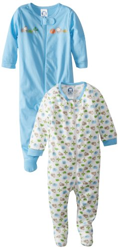 Gerber Baby-Boys Newborn 2 Pack Sleep N Play Gorilla, Gorilla Blue, 0-3 Months front-250532