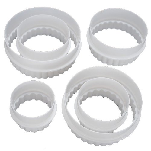 6X Round Plastic Scalloped Fluted Reversible Cookie Pastry Cake Cutter