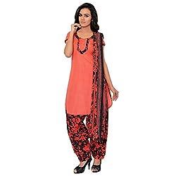 BanoRani Womens Tomato Red & Black PolyCotton Printed UnStitched Dress Material (Patiyala)