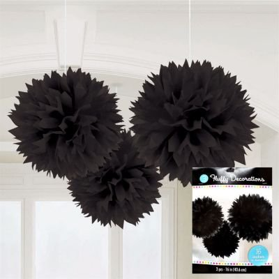Black Large Fluffy Pom Pom Hanging Decorations (3ct) [Health and Beauty]