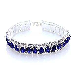 Silver and Sapphire Blue Crystal Rhinestone Channel Set Bracelet