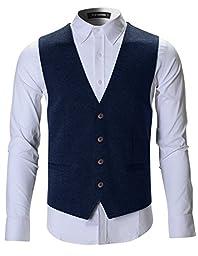 FLATSEVEN Mens Designer Stylish Casual Vest Premium (VE701) Navy, L