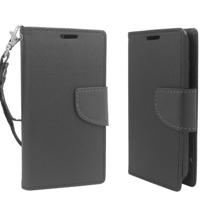 Lg Optimus L90 D415 (T-Mobile Version) - Black Pu Leather Wallet Magnetic Closing Flip Cover Case + Atom Led Keychain Flashlight