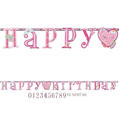 Amscan Sparkling Princess Jumbo Add-an-Age Customizable Letter Banner (1 Piece), Pink, 10'