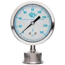 "Lumenite LSPG-LM-F-C1-1/2""-160PSI Glycerine Filled Sanitary Pressure Gauge, Lower Mount, 0-160 psi, Analog Display, +/- 1% Accuracy, 1-1/2"" Tri-clamp"