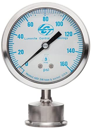 "Lumenite LSPG-LM-F-C1-1/2""-160PSI Glycerine Filled Sanitary Pressure Gauge, Lower Mount, 0-160 psi, Analog Display, +/- 1% Accuracy, 1-1/2"" Tri-clamp"