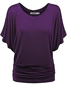 LL WT742 Womens Boat Neck Short Sleeve Dolman Drape Top XL DARK_PURPLE
